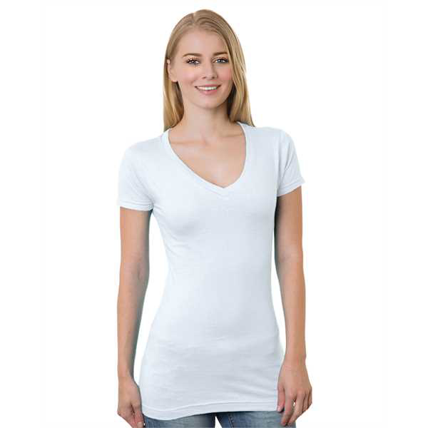 Picture of Junior's 4.2 oz., Fine Jersey V-Neck T-Shirt