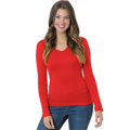 Picture of Junior's 4.2 oz., Fine Jersey Long-Sleeve V-Neck T-Shirt